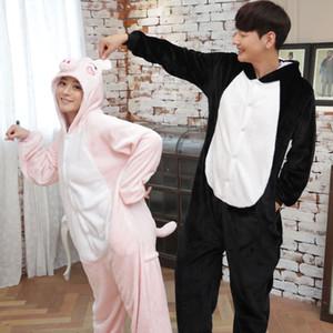 animale unisex tutina rosa maiale maiale nero tutina pigiama per le signore adulto di inverno del fumetto pigiama kigurumi