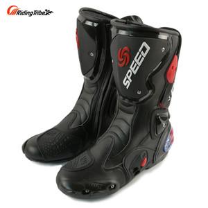 Mode moto bottes équitation TRIBE Moto Racing bottes de protection Gear Motocross en cuir longues chaussures B1001 livraison gratuite