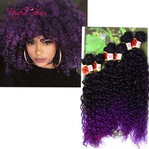 Cheveux de trame synthétique 6PCS / LOT ombre noire bug, blonde Jerry curl extensions de cheveux au crochet crochet tresses cheveux tresse marley jumbo tresses twist