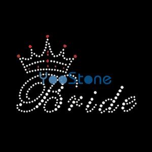 Coroa Com Noiva Hot Fix Rhinestone Transfers Ferro Em Motif Hotfix Applique Para Tshirt 20 pçs / lote