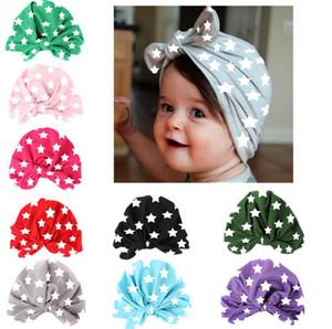 New Europe Fashion Baby Stars Printed Hats Girls Boys Bunny Ears Knot Head Hat Kids Children Caps Hats