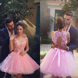 Affascinante breve rosa fiori in rilievo Abiti Homecoming 2017 Sweetheart Ball Gown Cocktail Dress Abbastanza abiti da festa