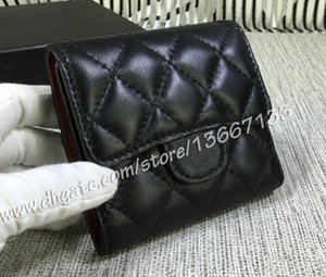 Comeinu9 Women's Fashion Lambskin Quilted Short Wallets Female Genuine Leather Three Folding Wallet Card Holders Coin Purses Clutch with Box