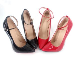 Wome Sapatos De Salto Alto de Couro de Patente 2017 Buckle Strap Dedo Apontado Plus Size Sapatos Da Bomba Escarpins Femme Sexy Mulheres Sapatos Extremos De Salto Alto