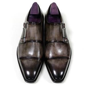 Männer Abendschuhe Mönch Schnalle Oxfords Custom Handmade Schuhe Karree echtes Kalbsleder Farbe Patina Grau HD-N192