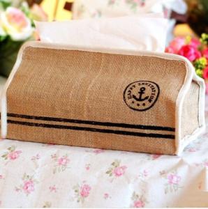Wholesale- 2pcs / lot 크리 에이 티브 앵커 디자인 교수형 리넨 조직 가방 얼굴 종이 상자 방수 홈 스토리지 가방 뜨거운 판매! S1032