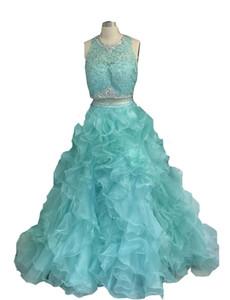 2017 새로운 민트 녹색 두 조각 Quinceanera 볼 가운 드레스 레이스 Applied 구슬로 장식 된 Organza 긴 주름 스위트 16 파티 무도회 이브닝 가운