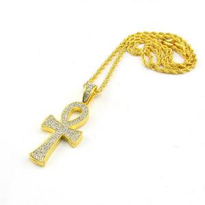 Ankh Pendentif Croix Égyptienne Cristaux CZ Bling Glacé Sur Or Collier Plaqué Argent Bijoux La Clé du Nil