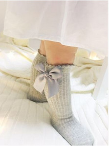 Girls Socks UK nuovo Baby ribbon Bow Sock alta 3/4 Knee Kids Socks fit 2-4T primavera autunno gambe baby Girls dolce principessa sotcking T1045
