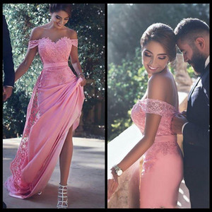 Elegant Off Shoulder Pink Evening Dresses 16 Sweet Bridal Party Wear Applique Lace And Chiffon Long Prom Bridesmaid Gowns