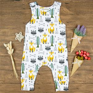 Ropa de bebé de algodón 2018 nuevos mamelucos sin mangas encantador recién nacido niños niños bebés chicas mono Fox impresión mameluco trajes de verano