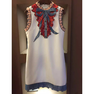 Wholesale- HIGH Quality Newest Fashion 2016 Summer Runway Dress Women's Sleeveless Luxury Sequined Bow Vintage Mini Dress
