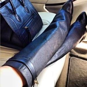 LTTL Марка Клин Shark Замок Женщины колено высокие сапоги скольжению на Fold Более Леди мотоциклов Boots Высота Увеличение Женщина Оригинальный кожаные сапоги