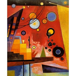 Handmade oil painting Wassily Kandinsky Heavy Red modern art abstract pictures for Living room decor