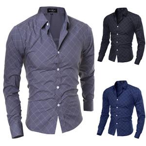 Wholesale New Formal Geometric Plaid Red Fashion Mens Dress Shirts Long sleeve Slim Fit Casual Social Camisas Masculinas M-XXL