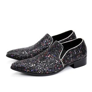 New Glitter Chaussure Homme Moda Handmade Paillettes Nero Bling Scarpe da uomo Mocassini da uomo Mocassini da uomo Plus Size 38-47