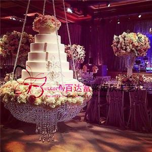 Yuvarlak D60 Kristal avize kek standı ile düğün dekorasyon için kristal boncuklu kek masa asılı