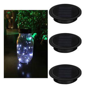 Hot Mason Jar Luzes 10 LED Branco Solar Luzes de Fadas Tampas de Inserção para Jardim Deck Do Pátio Do Partido Do Casamento de Natal Iluminação Decorativa