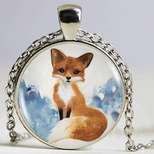 Fox Vintage Sanat Resim Logo Kolye Kolye Cam Cabochon Vintage Bronz Bildirimi Zincir Kolye Kadınlar Için Moda Takı