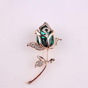 Al por mayor-Nueva moda cristal Rose Rose Broche Pin Rhinestone aleación Rose Gold Brooches regalo de cumpleaños accesorios de la ropa 367826