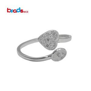 Бисенце из натурального серебра, перстень для перламутровых колец в форме сердца, уникальные обручальные кольца для женщин ID33358