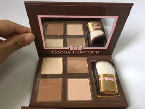 Neuer Vorrat COCOA Contour Kit Textmarker Palette Nude 4 Farben Kosmetik Gesicht Concealer Makeup Schokoladen Lidschatten mit Contour Buki Pinsel
