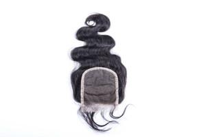Frete grátis 5x5 nós descorados três parte rendas frente top encerramento onda do corpo humano cabelo brasileiro 3 way parting lace closure
