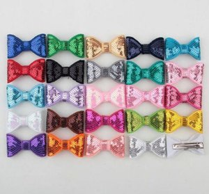 5cm Newborn Sequins Hair Bows Hair Clips Solid Flower Bowknot with Paillettes for Baby Girls Hair Accessories YH464