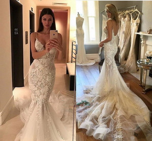 Sexy Cintas de Espaguete V Neck Sereia Vestidos de Casamento 2017 New Backless Sweep Train Lace Apliques de Casamento Vestidos De Noiva Custom Made