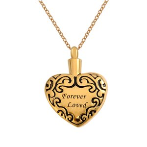 """Cremation Urn Necklace Engraved """"Forever Love"""" in Heart Memorial Keepsake Pendant Funnel Jewelry for Ash"""