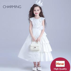 Kız güzellik pageants tasarımcı çocuklar için elbiseler Beyaz yuvarlak boyun Kemer dekorasyon uzun bölüm Saten kumaş tasarımcısı elbiseler