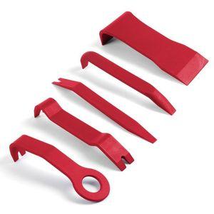 5 adet Kırmızı Yüksek Mukavemetli Naylon Araba Kapı Paneli Dash Trim Temizleme Pry Açık Aracı Kitleri