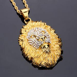 Hip Hop Fashion Jóias de Homens Mulheres presente Lion Head Pingente inoxidável King Animal Aço Homens banhados a ouro Vintage