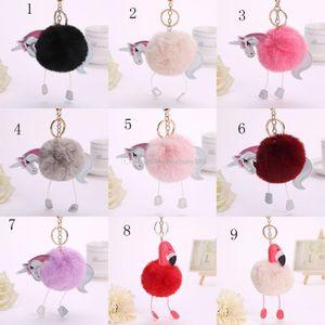 2017 nouveau Flamingo en peluche Porte-clés sac Pendentif Cheval Porte-clés dessin animé Licorne Porte-clés 27 couleurs C2350