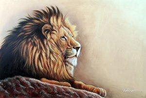 Çerçeveli Orman Ormanın Erkek Kralı Erkek Yele Büyük Kedi Afrika, hakiki Handpainted Modern Hayvan Sanat yağlıboya Müzesi Kalitesi Çok boyutları J063