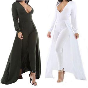 Wholesale- Cape Rompers Womens Jumpsuit Sexy Deep V-neck Jumpsuit Long Sleeve White Playsuit Bandage Full Length Bodysuit Overalls Autumn