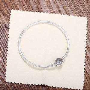 Passen Sie europäische Perlen Pandora 3mm 16-21cm 925 Silber nicht überzogene Herz CZ Armband Schlangenkette mit Barrel Clasp Armbänder mit Stempel DIY
