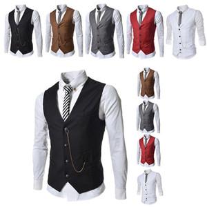 Fashion Men's Formal CHAISTCOAT GROER TUXEDOS UTILIZAR ORIPERAL VESTIDOS CASUAL SLIM FIT FIT TOPS TOPS CON CADENA