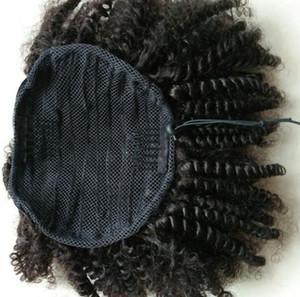 % 100 Brezilyalı Virgin İnsan Saç at kuyruğu 4C Afro Kinky Kıvırcık Doğal Renk 1piece / Çok Ayarlanabilir Clip-in Ponytail (120g Afro Kıvırcık, 10inch)