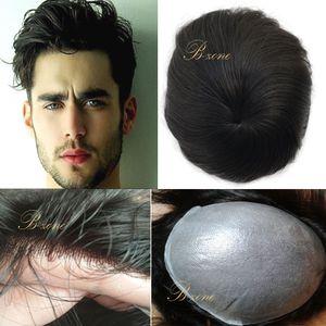 Stock Super Thin Base Men Toupee HairPieces 10 * 8 pollici sottile PU pelle Toupee chiusura per perdita di capelli mano legata capelli umani