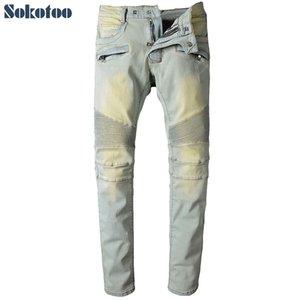 Großhandel - Sokotoo Männer Licht Farbe Falten Biker Jeans Für Moto Casual Slim Gerade Stretch Denim Hosen Lange Hose
