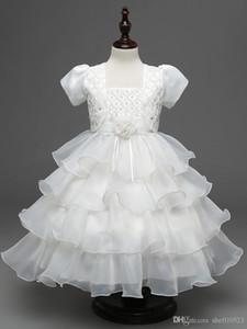 Mode Bady der Blumen-Mädchen-Kleid-Qualität kurze Hülse vier Farben Kinder Brautkleid oder Partei Ball GownClothing fre