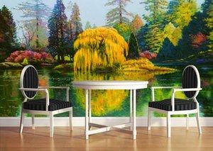 사용자 지정 사진 럭셔리 3D 입체 벽지 벽지 손을 해안에 그렸습니다. 나무 다채로운 풍경 오일 페인팅 3d room wallpaper landscape