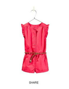 summer Girls belt Fly sleeve overalls shorts jumpsuits wholesale