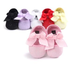 5 cores Bebê Meninas Bowknot Princesa sapatos crianças anti-slip walkers meninas Sola Macia sapatos de festa 0-1 T frete grátis