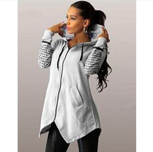 Осень зима женщины толстовки кофты Письмо печати пуловер harajuku плюс размер молния нерегулярные женский топ спортивная одежда