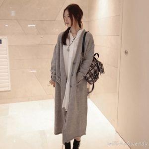 Wholesale- 2017 Women's Knitted Sweater Cardigan Poncho Long Jersey Runway Designer Korean Fashion Loose Knitting Jumper Coat Female Cape