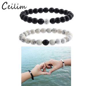Nuovi gioielli di moda 2 pezzi / set braccialetto di perline distanza con 8 millimetri tigre-eye bianco turchese nero opaco pietra perline braccialetti di fascino