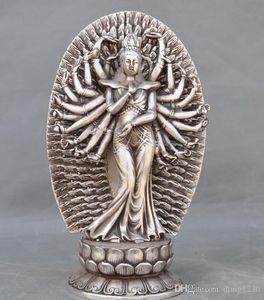 Старый Тибет Фане серебро 1000 оружия Avalokiteshvara Кван-инь Guanyin статуя богини