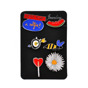 Wholesale- Colorful Enamel Pins Sets Cute Broches Christmas Gift For Girls Animal Bee Flower Watermelon Childrens Clothing Badge Corsage